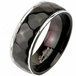 Titanium black ring unisex